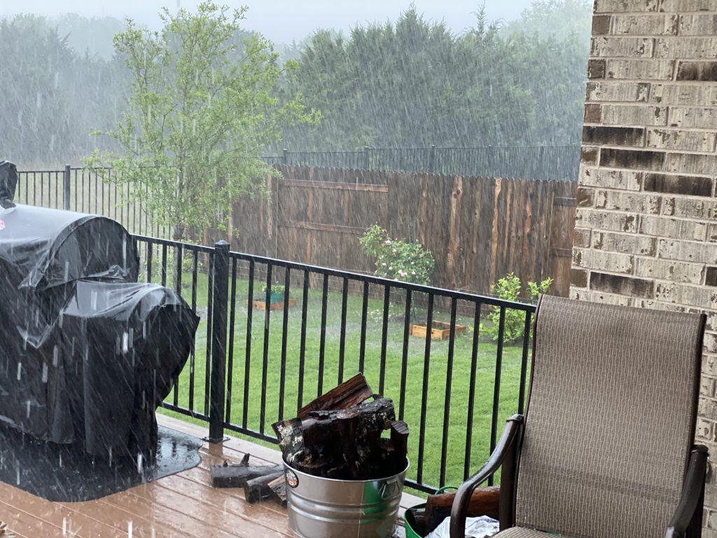 Rain at 3 inches per hour downpour
